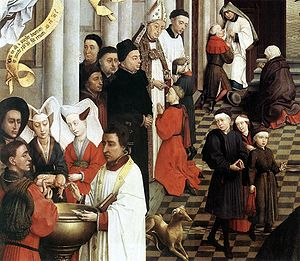 Oil of catechumens - Detail from the Seven Sacraments Altarpiece by Rogier van der Weyden. In the lower left the priest is anointing an infant before it is baptized.