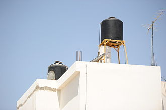 Water supply and sanitation in the Palestinian territories - Roof water cistern in Jenin