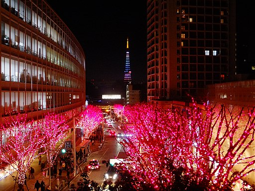 Roppongi Hills Keyakizaka at night 20141224-red 02