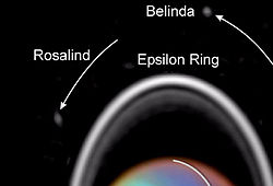 The Hubble Space Telescope captured tiny Rosalind orbiting Uranus in 1997