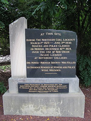 Rothbury riot - The Rothbury riot memorial