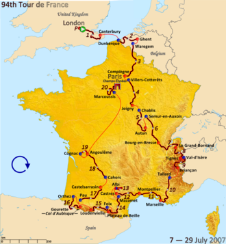 2007 Tour de France - Route of the 2007 Tour de France