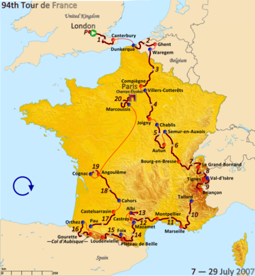 Route of the 2007 Tour de France
