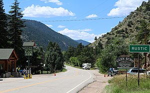 Rustic, Colorado - Rustic and Poudre Canyon Road, looking west.