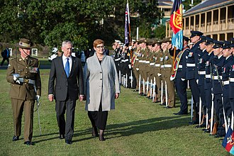 Guard of honour - Australia's Federation Guard are inspected by Jim Mattis and Marise Payne. The Federation Guard typically provides the guard of honour for official ceremonies in Australia.