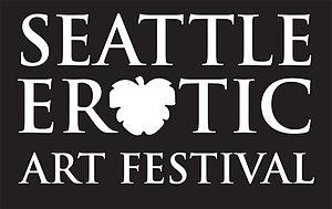 English: Seattle Erotic Art Festival logo, bla...