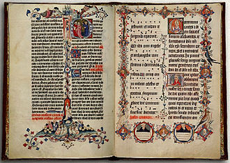 Sherborne Missal - Page 356 depicting the feeding of the five thousand, and page 367 with careful depictions of birds and portraits of the bishops of Sherborne