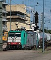 SNCB Cobra E186 2841 (E186 233) electric locomotive haulage through Mannheim with a northbound petrochemical train for the Kaiserslauten refinery conveying bulk glacial acetic acid and 1,4-butadiene.jpg