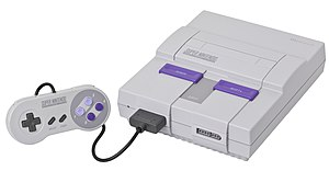 English: A Super Nintendo (SNES or Super NES) ...