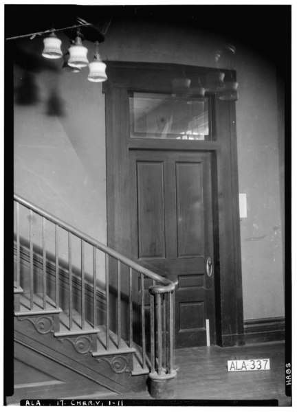 File:STAIR BASE AND DOOR TO LIVING ROOM IN W. WALL OF HALL (FRONT) - Cunningham Plantation, Old Memphis Road (Gaines Trace Road), HABS ALA,17-CHER.V,1-11.tif