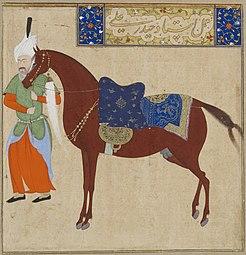 Safavid-dynastie, paard en bruidegom, door Haydar Ali, begin 16e eeuw.jpg