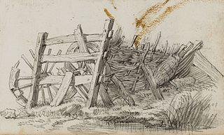 Drewniany płot i dwa połamane koła