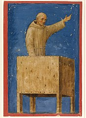 Saint Bernardino Preaching from a Pulpit