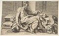 Saint Mark writing his gospel, winged lion at the right MET DP812425.jpg