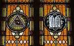Saint Mary Catholic Church (Philothea, Ohio) - stained glass, Eye of Providence and Ten Commandments.jpg