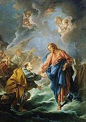 Saint Pierre tentant de marcher sur les eaux par François Boucher (1766) Versailles, Cathédrale Saint-Louis- [Public domain], via Wikimedia Commons