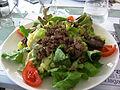 Salade lyonnaise aux foies de volaille écrasés.JPG