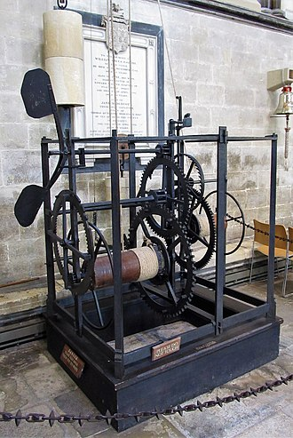 Verge escapement - Salisbury cathedral clock, 1386?, England, shows what the first verge clocks looked like.  The few original verge clock mechanisms like this surviving from the Middle Ages have all been extensively modified.  This example, like others, was found with the original verge and foliot replaced by a pendulum; a reproduction verge and foliot was restored in 1956 (visible top centre).