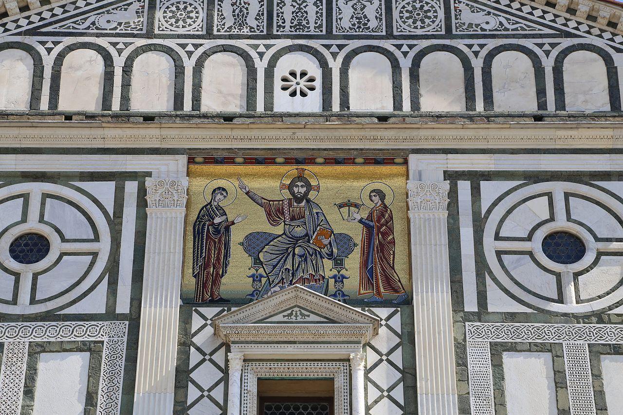 Facciata di San Miniato al Monte con il mosaico di Cristo tra la Vergine e san Miniato, Firenze