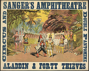 Robert Reece - Poster for an 1886 production of Reece's Aladdin and the Forty Thieves