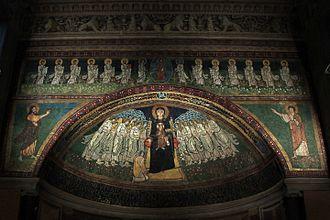 Santa Maria in Domnica - apse mosaic of the 9th century commissioned by Pope Paschal I