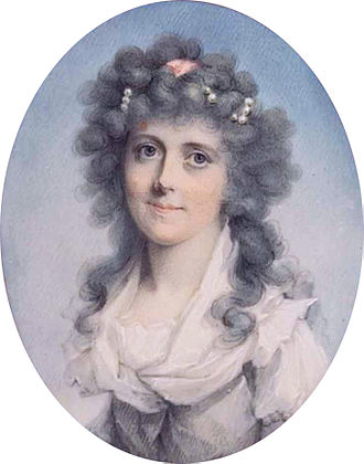 John Donaldson (painter) - Sarah Garrow, née Dore by John Donaldson, painted miniature on ivory