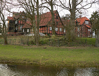 Ahlden House - Rear of the three-winged building with moat