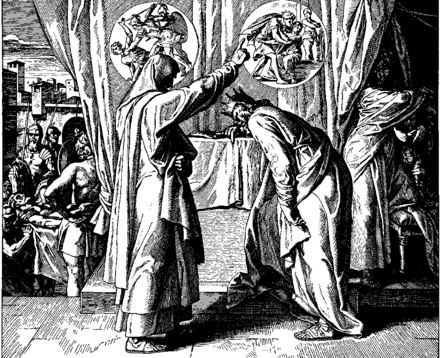 "Nathan confronts David over his sex scandal with Bathsheba the wife of Uriah the Hittite, saying ""by this deed you have given occasion to the enemies of the LORD to blaspheme"" (2 Samuel 12:14) Schnorr von Carolsfeld Bibel in Bildern 1860 102.png"