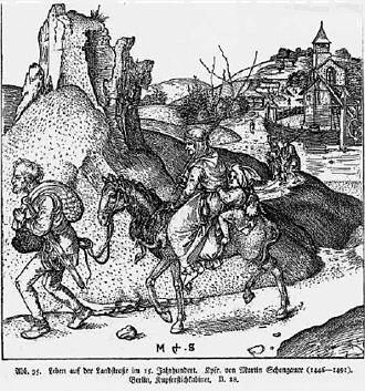 Vaz/Obervaz - Jenishe on the road, from a 15th-century engraving