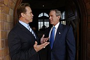 President George W. Bush meets with Schwarzenegger after his successful election to the California Governorship