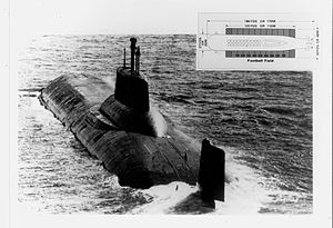 Typhoon-class submarine - Soviet Typhoon-class ballistic missile submarine, with inset of a football field graphic to convey a sense of the enormous size of the vessel.