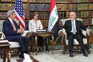 Ibrahim al-Jaafari - al-Jaafari meeting with US Secretary of State John Kerry in Baghdad