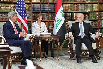 Ibrahim al-Jaafari - al-Jaafari meeting with US Secretary of State John Kerry in Baghdad