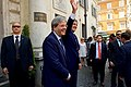 Secretary Kerry Waves to Passersby Before Delivering Press Statement in Rome (27840916771).jpg