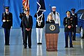 Secretary of State Hillary Rodham Clinton, at lectern, speaks during the dignified transfer of the remains of four U.S. State Department personnel at Joint Base Andrews, Md., Sept 120914-F-OR567-239.jpg