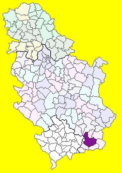 Položaj općine Vranje na karti Srbije