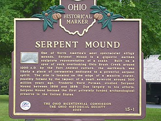 Serpent Mound - Ohio historical marker