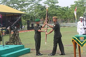 Change of command - An Indonesian Army Change of command ceremony from Lt. Col Tri Sugiyanto to Major Sudrajat of the 14th Medium Air Defense Artillery Battalion