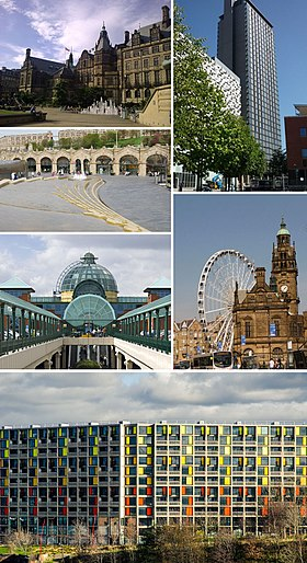 Clockwise from top left: The Sheffield Town Hall; St Paul's Tower from Arundel Gate; the Wheel of Sheffield; Meadowhall shopping centre; Sheffield station and Sheaf Square; Park Hill at the bottom
