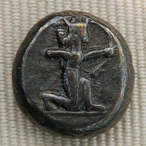 Silver shekel issued by King Darius I of Persi...