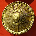 Shield, Ethiopia, leather, velvet, gold leaf, silver, copper - Peabody Museum, Harvard University - DSC06008.jpg