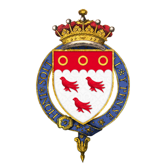 Francis Cowper, 7th Earl Cowper - Arms: Argent three martlets gules on a chief engrailed of the last, three annulets or.