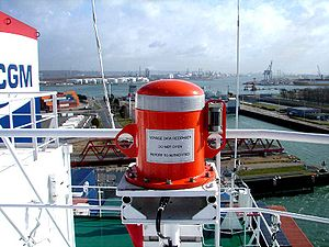 Voyage data recorder - A fixed Data Capsule of VDR mounted on a container ship