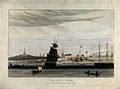 Ships at Rangoon, Burma. Coloured aquatint by William Daniel Wellcome V0050494.jpg