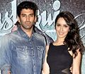 Shraddha Kapoor with co-star Aditya Roy Kapur Success bash of 'Aashiqui 2' at Escobar.jpg