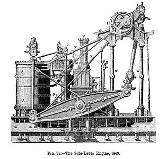 Marine steam engine - Image: Side lever engine 1849