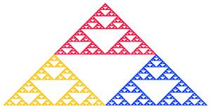 Iterated function system - Sierpinski gasket created using IFS (colored to illustrate self-similar structure)