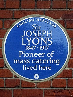 Sir joseph lyons 1847 1917 pioneer of mass catering lived here