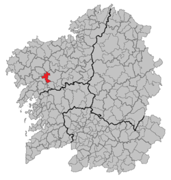 Situation of Ames within Galicia