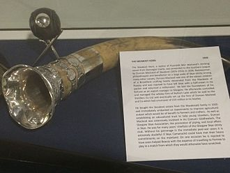 Jack Asher (shinty) - The Skeabost Horn - The trophy for competition in the old Southern Shinty Leagues in Central Belt Scotland - This was entrusted with Jack Asher until his death in 2015,